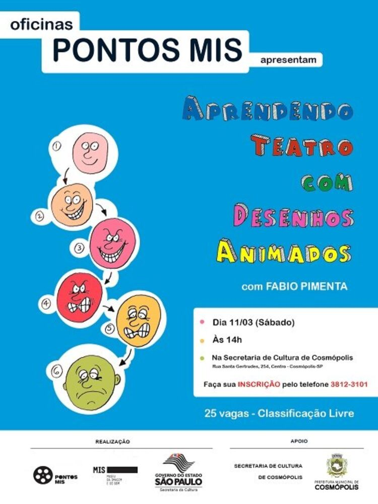 Prefeitura Municipal de Cosmópolis oferece oficina de teatro em parceria com o MIS