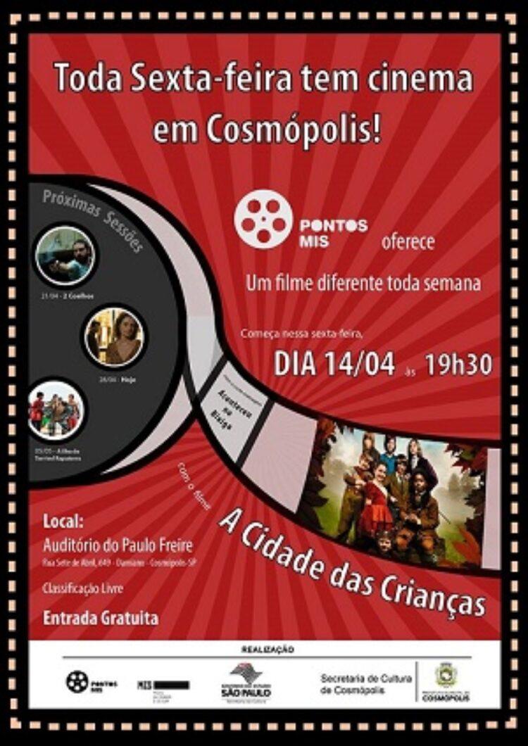 Prefeitura Municipal de Cosmópolis passa a oferecer uma sessão de cinema gratuita por semana