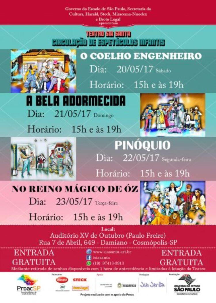 Cosmópolis recebe apresentações gratuitas de teatro infantil