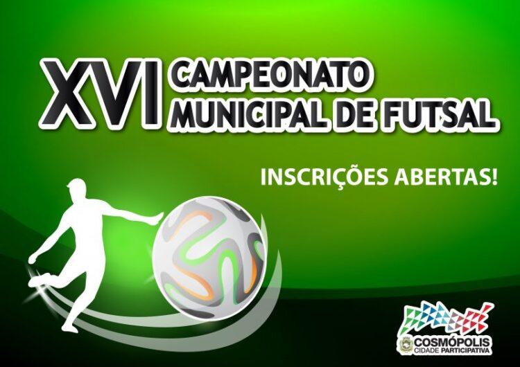 Inscrições para o XVI Campeonato Municipal de Futsal estão abertas