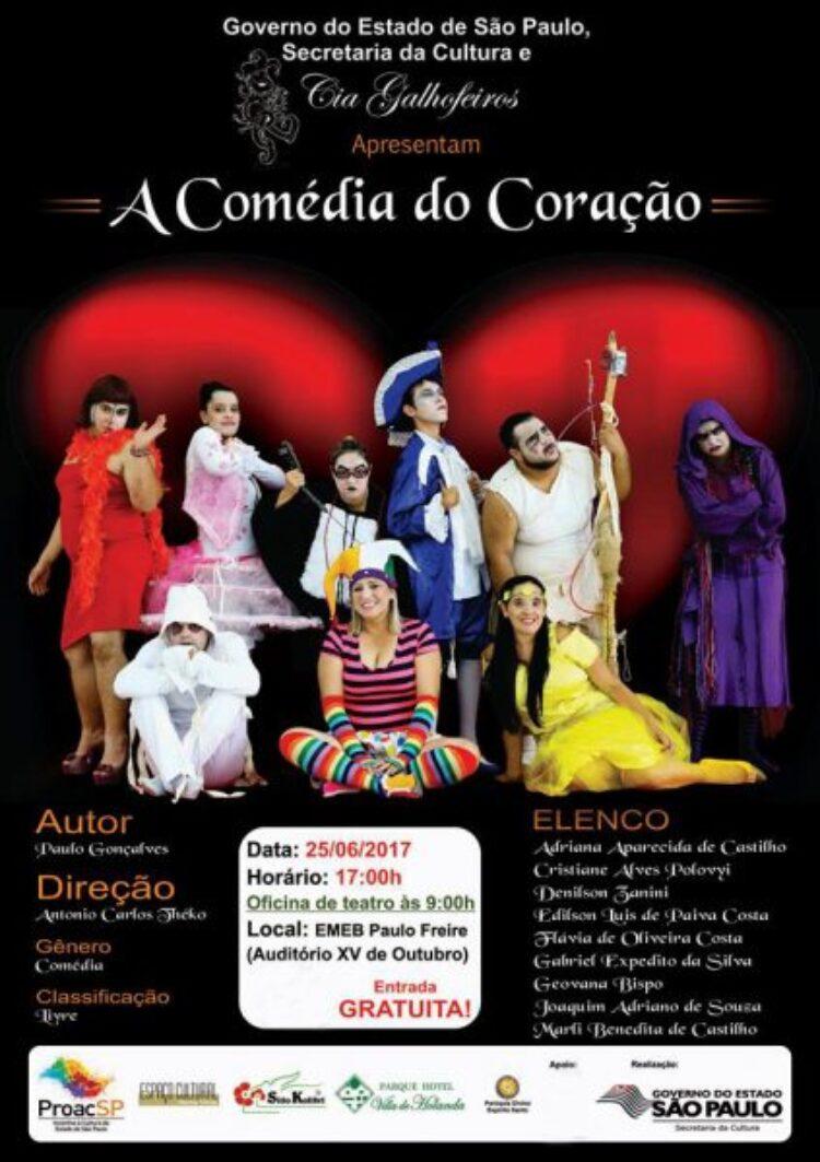 """Cosmópolis recebe espetáculo """"A Comédia do Coração"""" no próximo domingo (25)"""