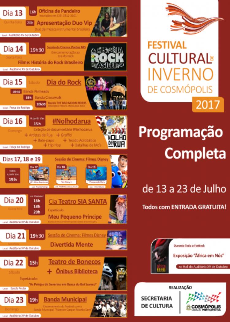 Festival Cultural de Inverno começa nesta quinta-feira (13)