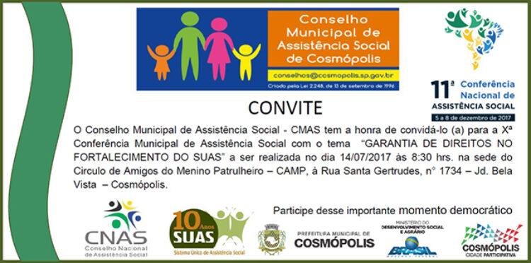 X Conferência Municipal de Assistência Social será realizada nesta sexta-feira