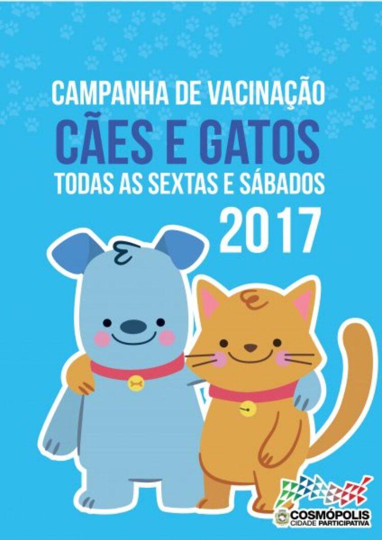 Campanha de vacinação de Cães e Gatos contra a Raiva começa dia 1° de Setembro