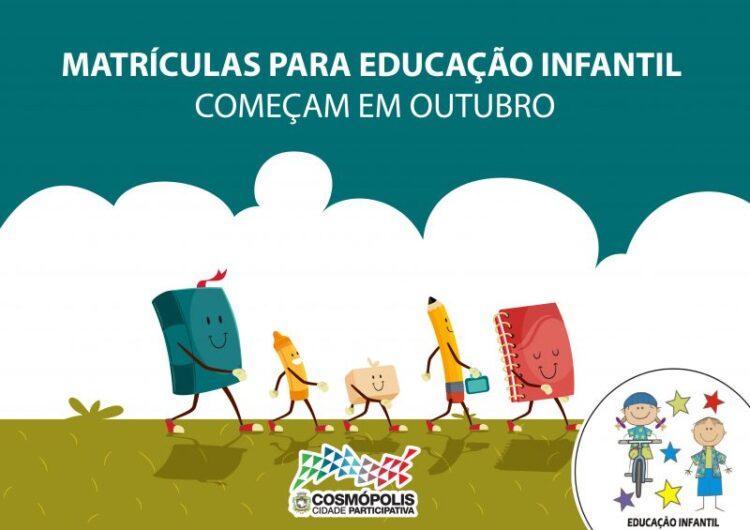 Matrículas para educação infantil começam em outubro