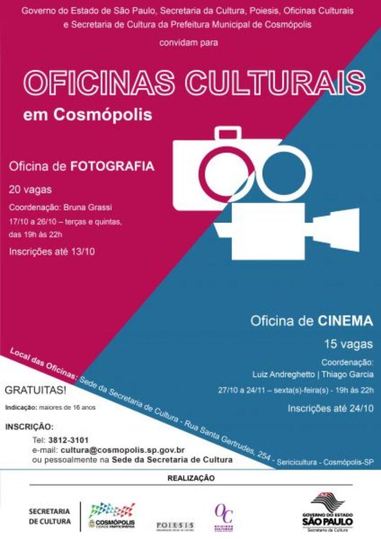 Inscrições abertas para oficinas gratuitas de fotografia e cinema em Cosmópolis