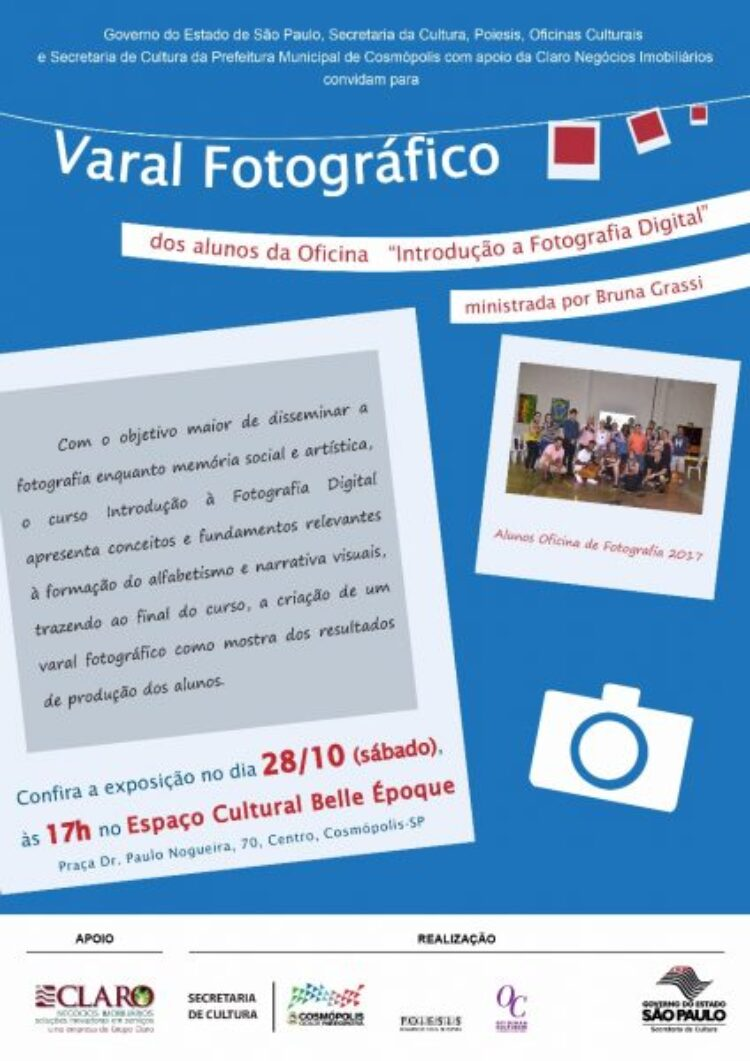 "Exposição ""Varal Fotográfico"" ocorre neste sábado (28)"