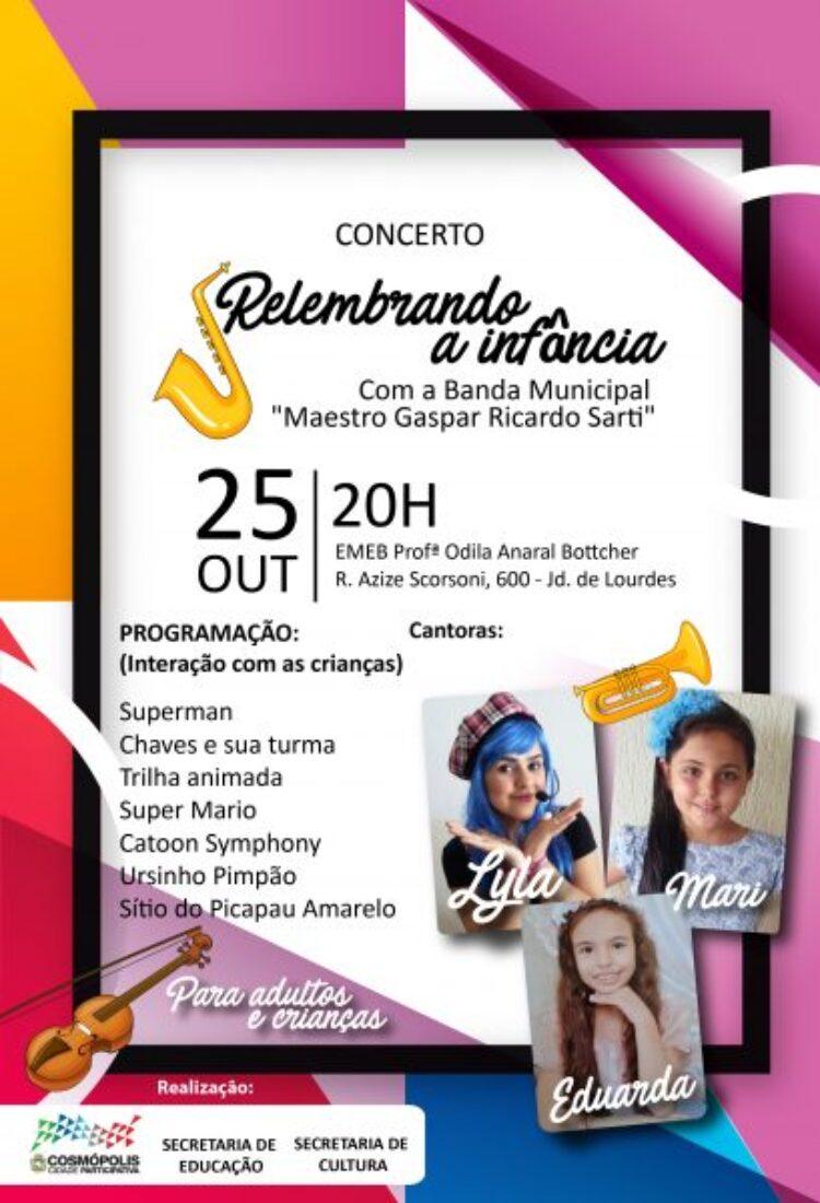 """Banda Municipal """"Maestro Gaspar Ricardo Sarti"""" toca sucessos infantis dos anos 80 nesta quarta-feira"""