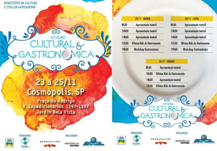 """Projeto de democratização do teatro, """"Vitrine Cultural e Gastronômica"""" chega a Cosmópolis nesta quinta-feira (23)"""