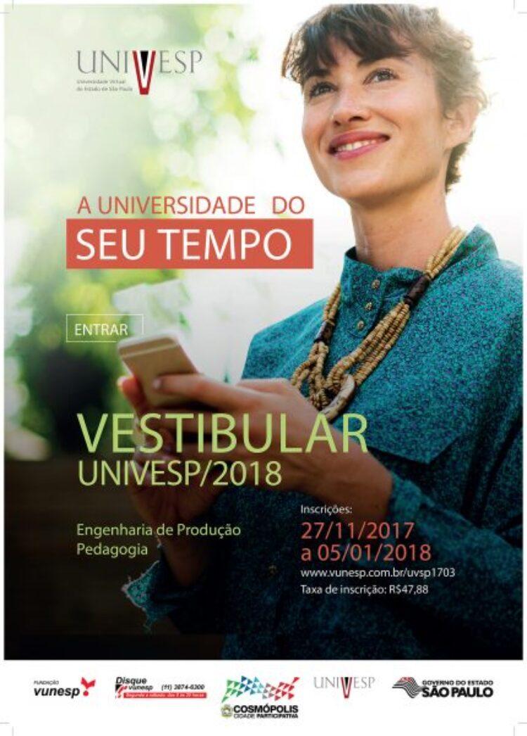 Vestibular da UNIVESP tem inscrições abertas até dia 5 de janeiro