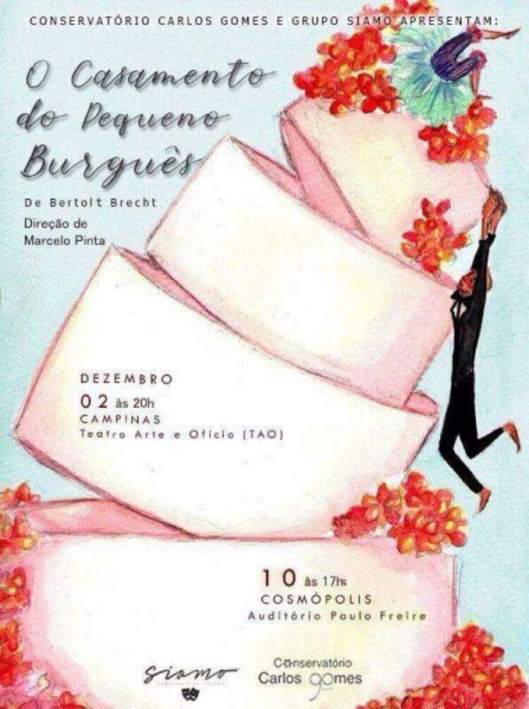 """Cosmópolis recebe a peça """"O Casamento do Pequeno Burguês"""" neste domingo (10)"""