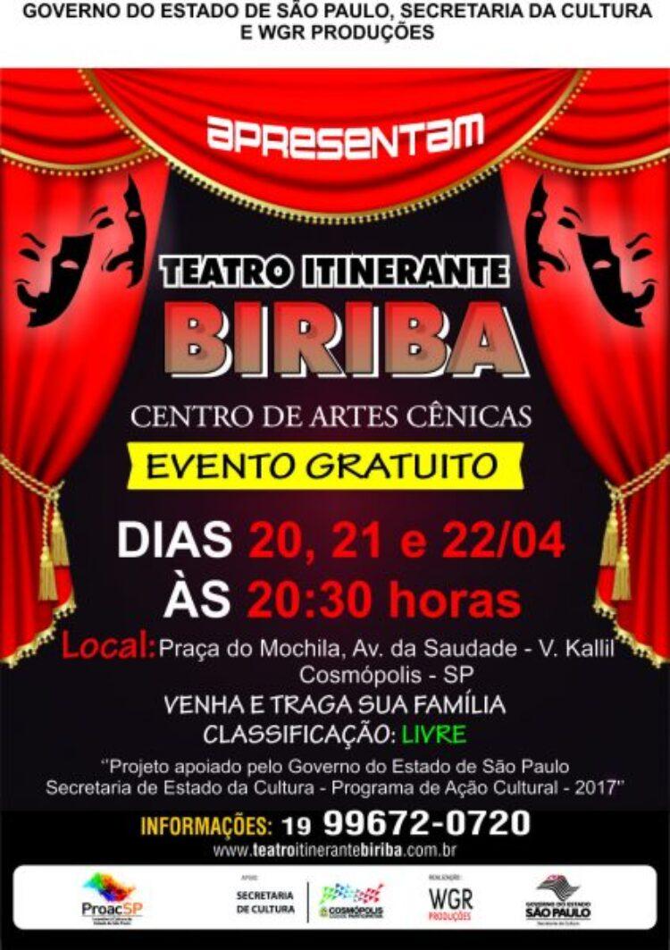 Circo Teatro Biriba se apresenta gratuitamente em Cosmópolis neste final de semana