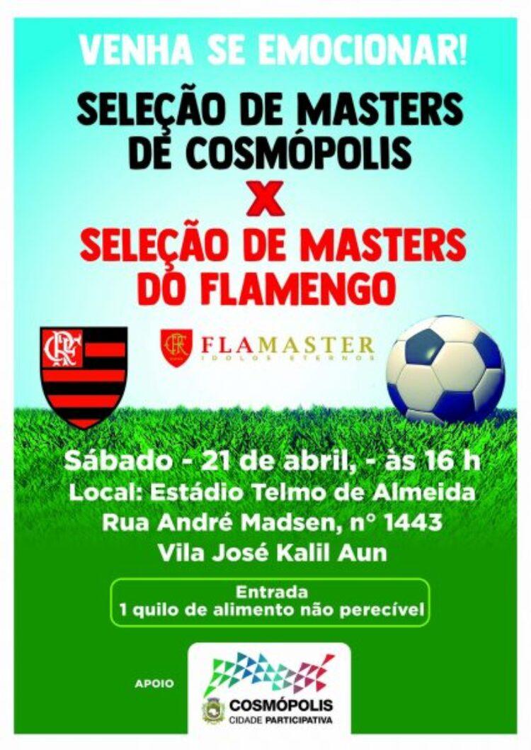 Cosmópolis recebe time de masters do Flamengo para jogo amistoso