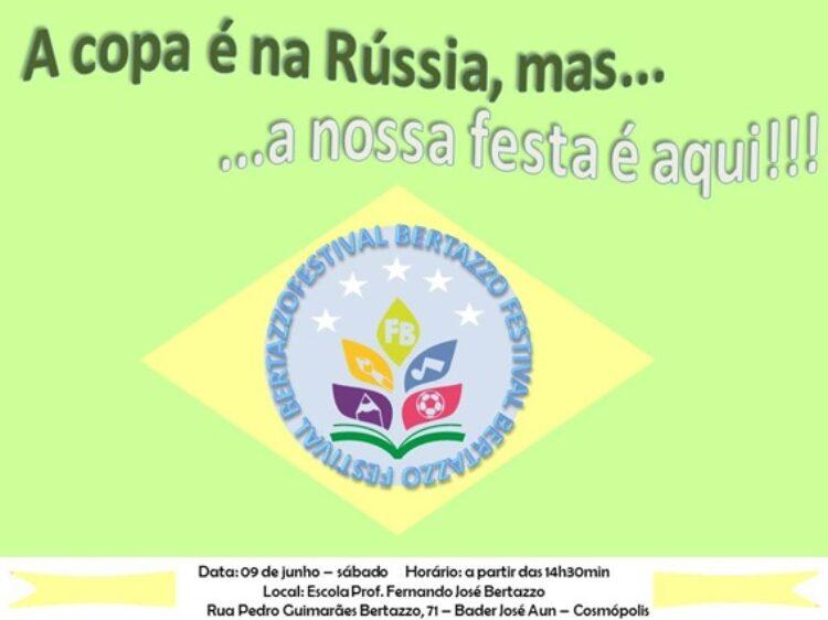 EMEB Professor Fernando José Bertazzo realiza festival com o tema Copa do Mundo 2018 neste sábado (9)