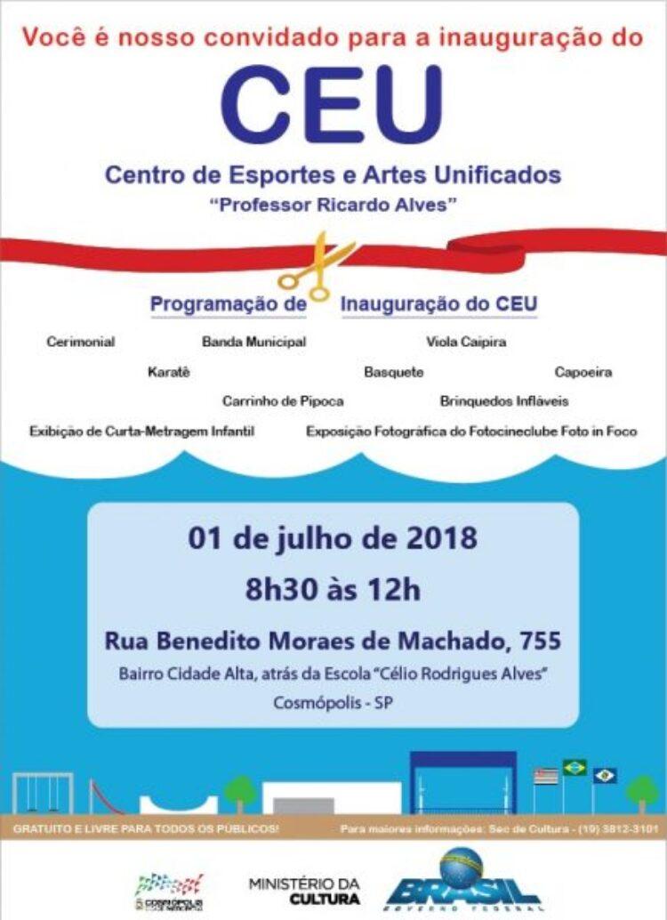 """Centro de Artes e Esportes Unificados """"Professor Ricardo Alves"""" será inaugurado neste domingo (1)"""