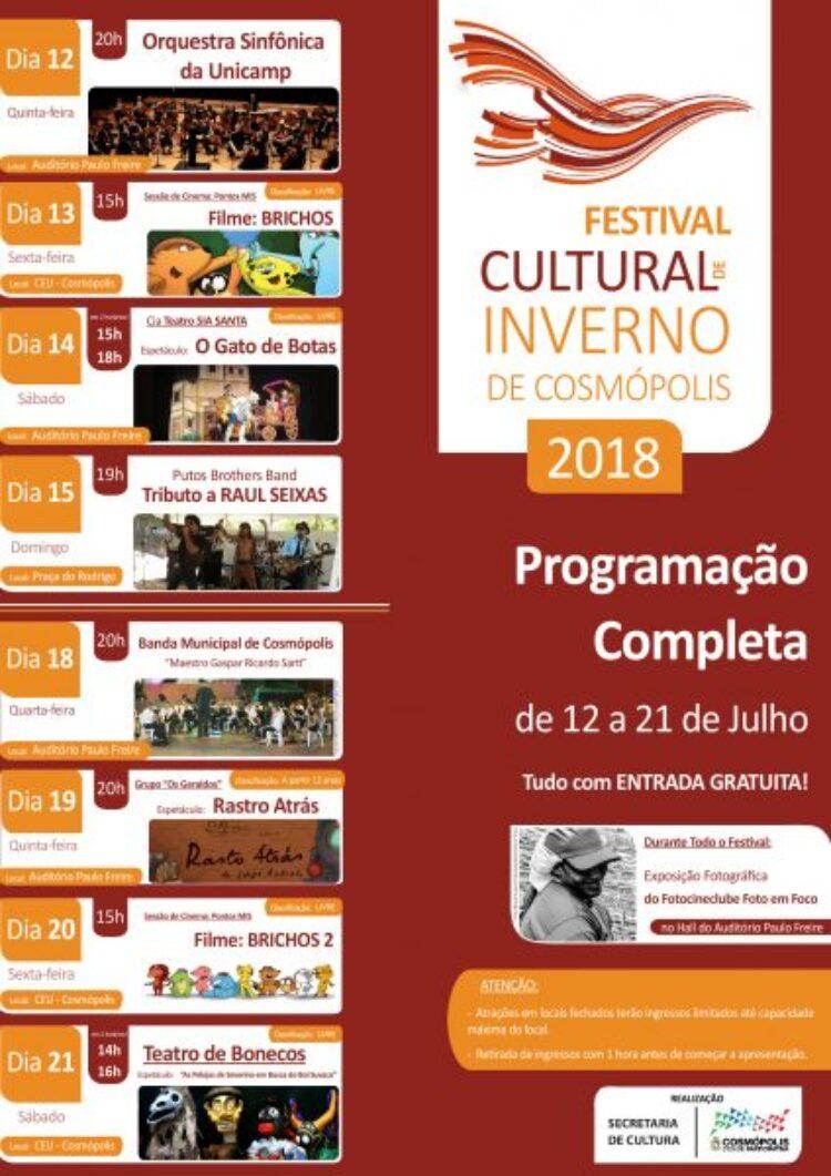 Festival Cultural de Inverno de Cosmópolis começa nesta quinta-feira (12)