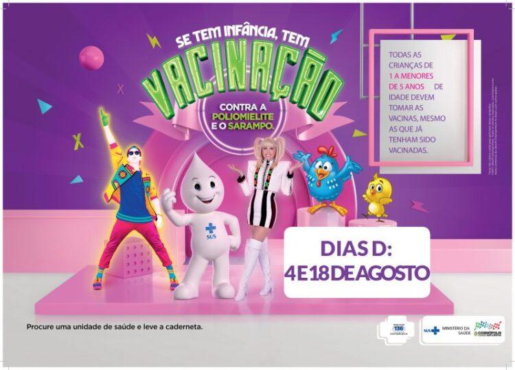 """""""Dia D"""" da Campanha Nacional de Vacinação contra a Poliomielite e o Sarampo será neste sábado (18)"""