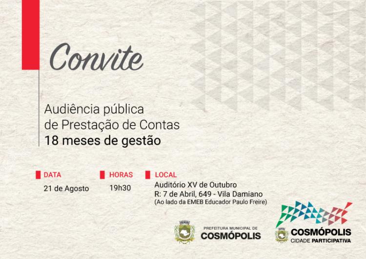 Prefeitura realiza Audiência Pública de prestação de contas na próxima terça-feira (21)