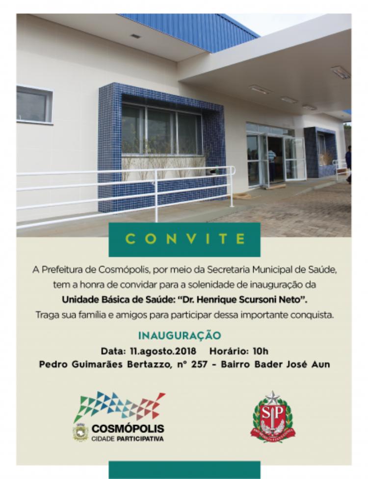 """Unidade Básica de Saúde """"Dr. Henrique Scursoni Neto"""" será inaugurada neste sábado (11)"""