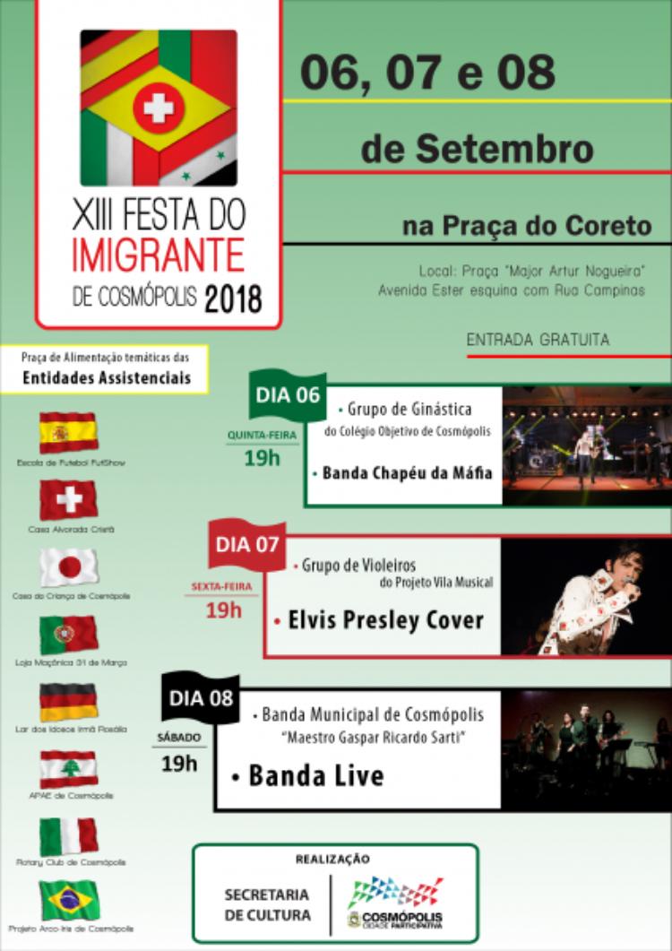 Programação cultural da Festa do Imigrante de 2018 é divulgada