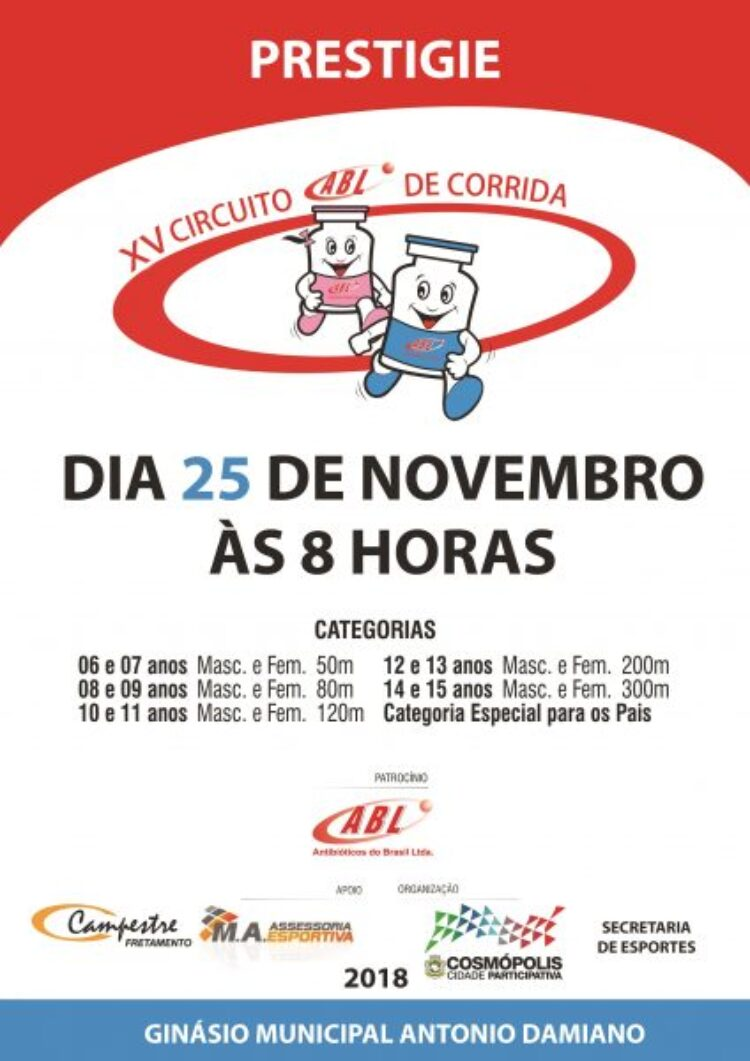 Circuito ABL de Corridas será realizado neste domingo no Ginásio Municipal
