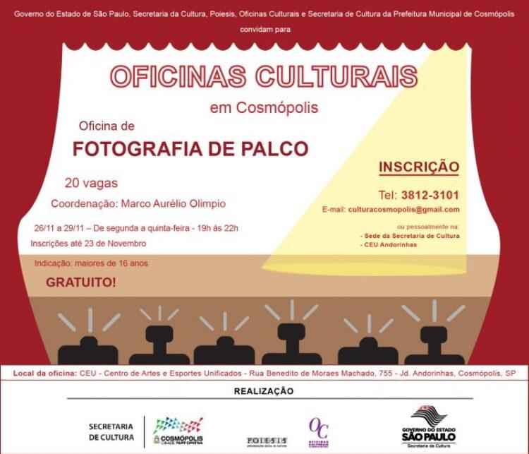 Oficina gratuita de Fotografia de Palco tem inscrições abertas