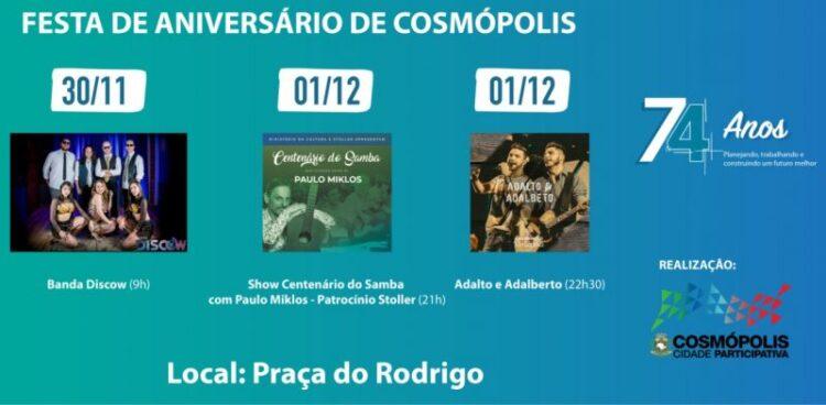 Festa de Aniversário traz dois dias com muita música na Praça do Rodrigo