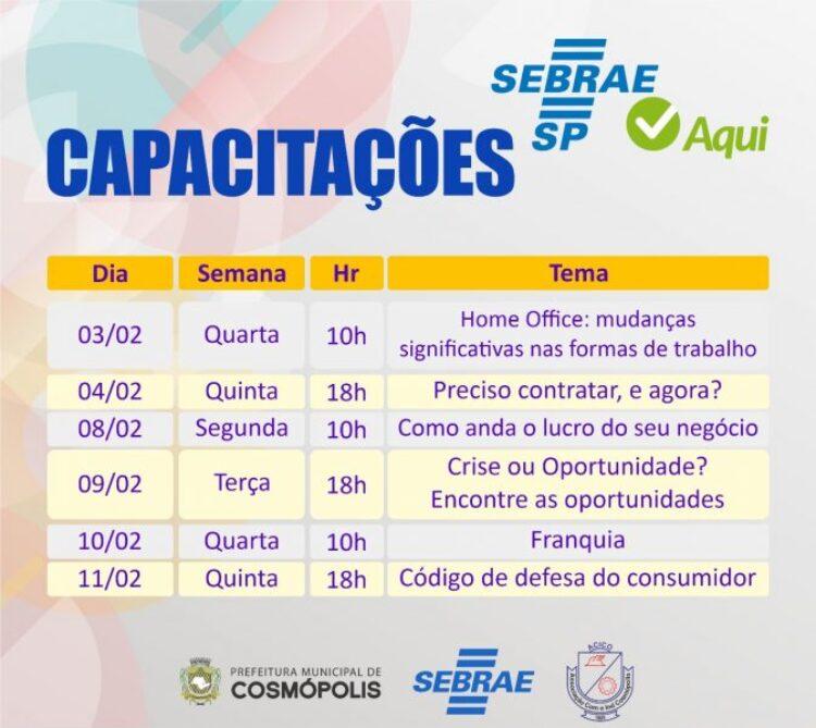 Prefeitura, Acico e Sebrae oferecem capacitações gratuitas