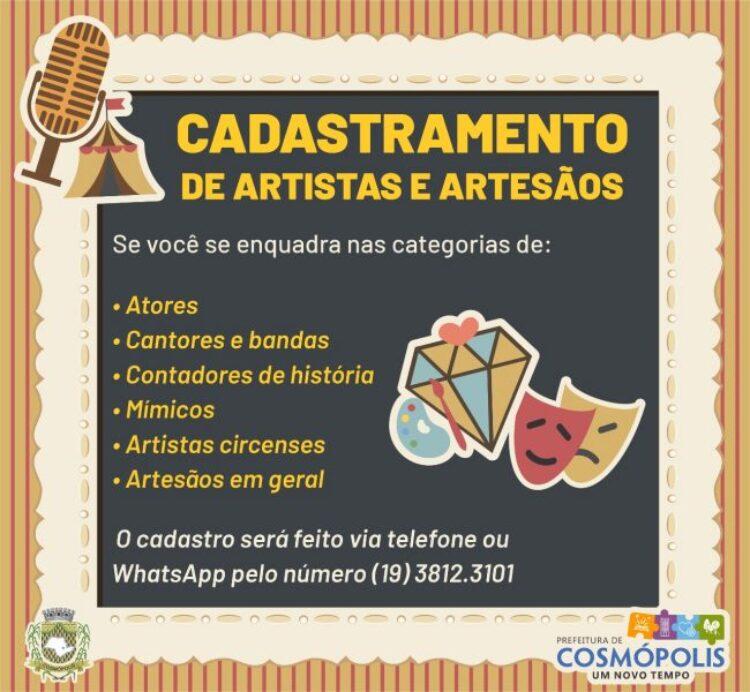 Secretaria de Cultura está realizando cadastramento de músicos e artesãos de Cosmópolis