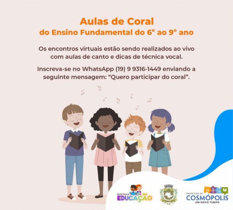 Secretaria de Educação realiza Aulas de Coral para alunos do ensino fundamental