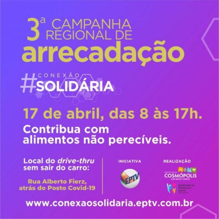 """Cosmópolis participa neste sábado (17) da 3ª Campanha Regional de Arrecadação """"Conexão Solidária"""""""