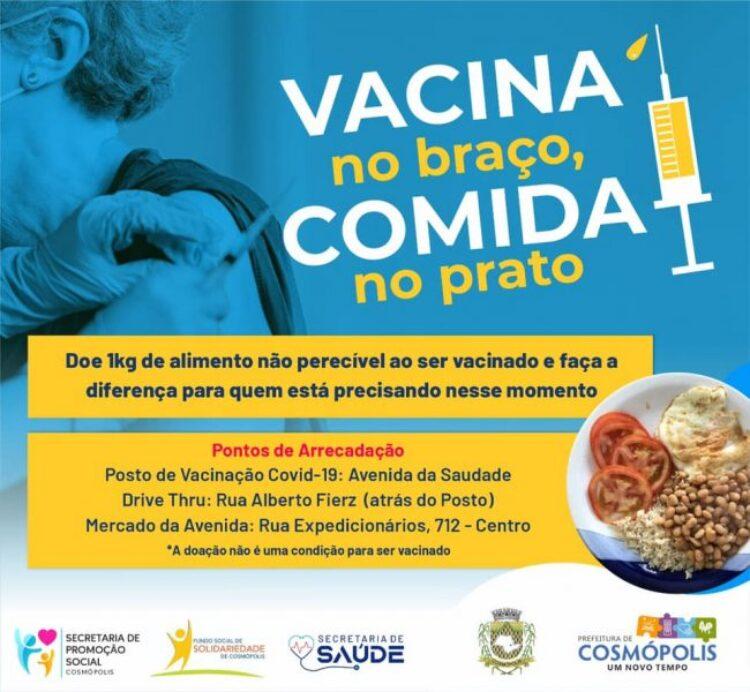 """Campanha """"Vacina no Braço, Comida no Prato"""" arrecada alimentos não perecíveis para população em vulnerabilidade social"""