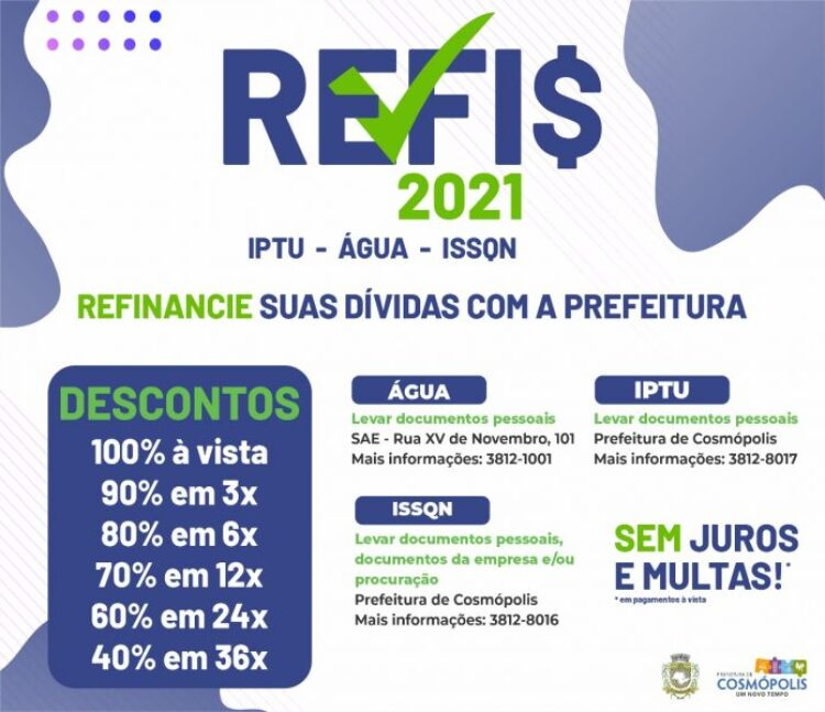Prefeito sanciona Lei do REFIS 2021