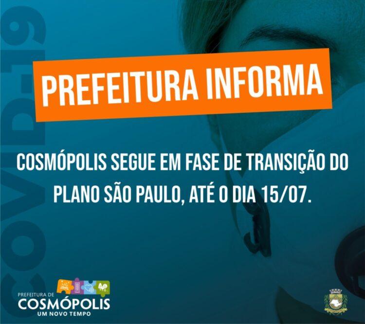 Fase de transição do Plano São Paulo em Cosmópolis é prorrogada até 15 de julho