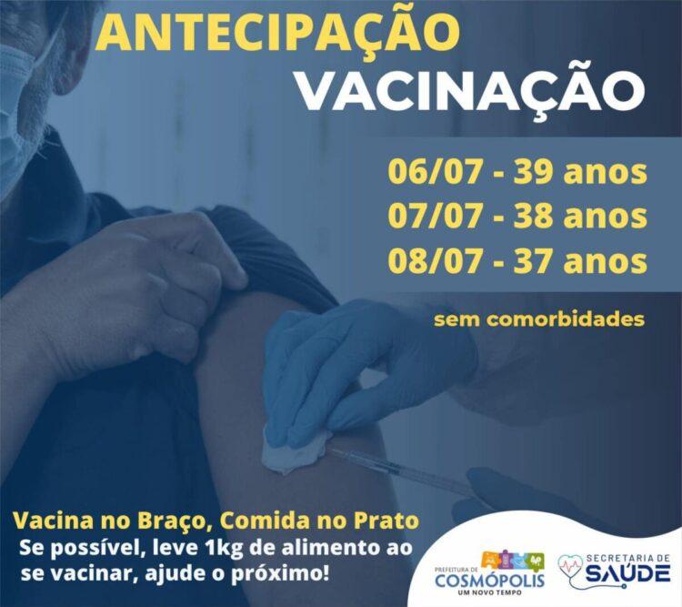 Pessaoas entre 37 a 39 anos já podem se vacinar contra Covid-19