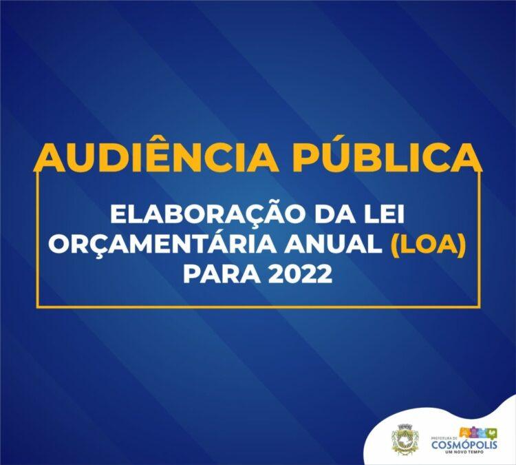 Audiência pública da Lei Orçamentária Anual (LOA) será realizada nesta terça-feira