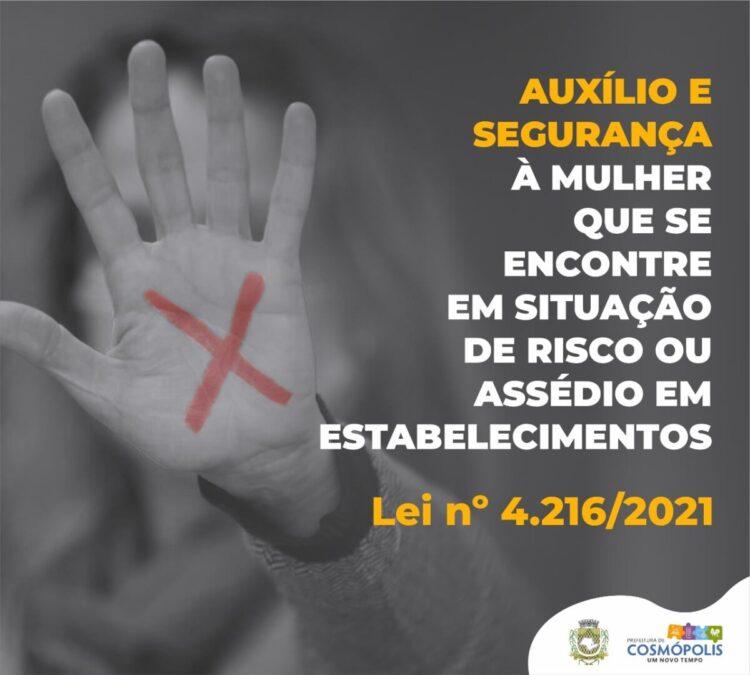 Estabelecimentos em Cosmópolis deverão auxiliar mulheres vítimas de assédio