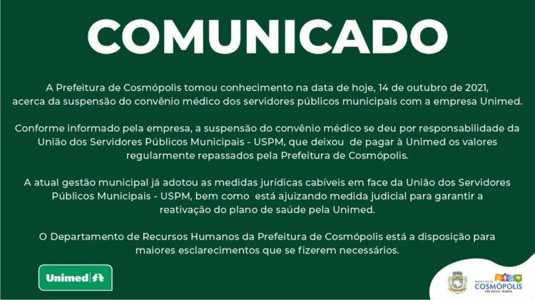 COMUNICADO URGENTE AOS SERVIDORES PÚBLICOS MUNICIPAIS CONVENIADOS COM A UNIMED